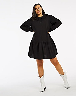 Peter Pan Collar Cotton Poplin Shirt Dress