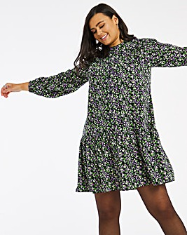 Floral Print Ruffle Front Button Through Shirt Dress