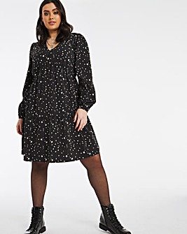 Star Print Button Through Tiered Shirt Dress