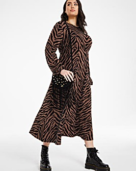 Zebra Print Long Sleeve Jersey Midi Dress