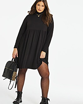 Black Supersoft Roll Neck Smock Dress