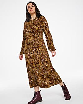 Green Leopard Long Sleeve Jersey Midi Dress