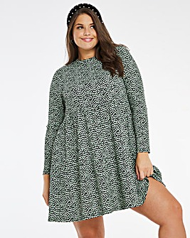 Heart Print Tiered Waffle Dress