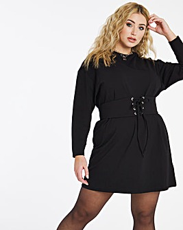 Black Long Sleeve Jersey Corset Dress