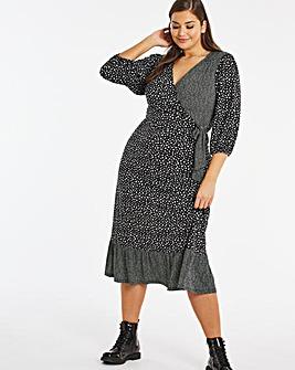 Mono Spot Wrap Jersey Midi Dress