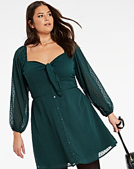 Long Sleeve Knot Dobby Skater Dress