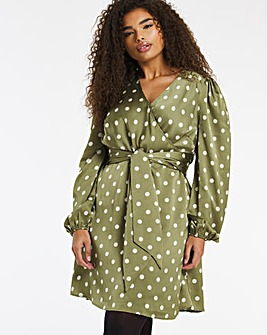Spot Print Satin Wrap Skater Dress