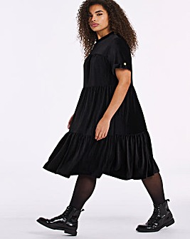 Black Babycord Smock Dress