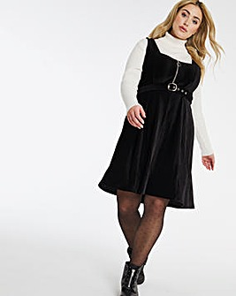 Black Babycord Zip Pinafore Dress