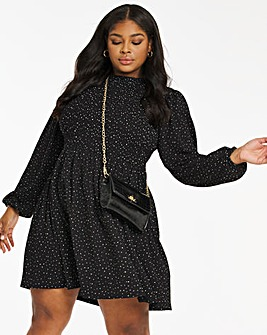 Mono Spot Long Sleeve Wafle Shirred Skater Dress