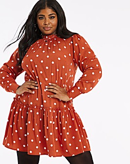 High Neck Rust Spot Print Smock Dress