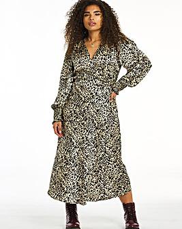 Leopard Print Satin Wrap Midi Dress