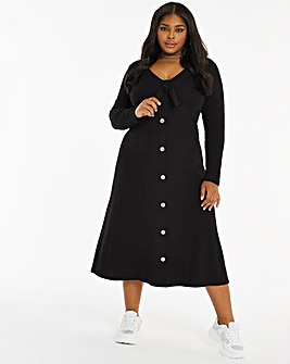 Black Long Sleeve Button Through Midi