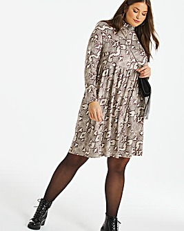 Snake Print Supersoft Roll Neck Smock Dress