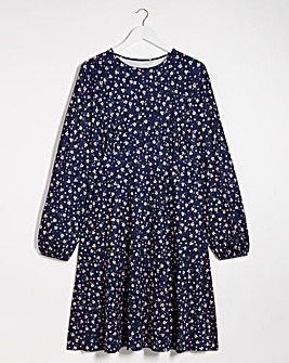 Ditsy Supersoft Jersey A-line Tea Dress