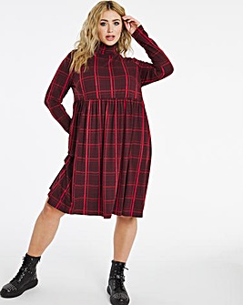 Red Check Supersoft Roll Neck Smock Dress