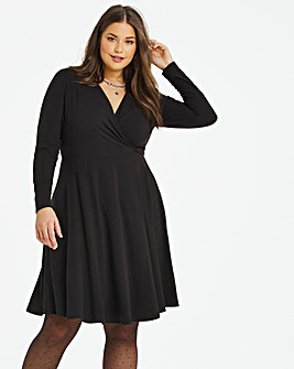 Black Supersoft Wrap Skater Dress