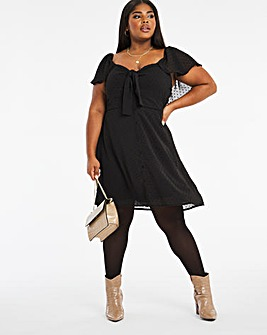 Black Knot Dobby Skater Dress