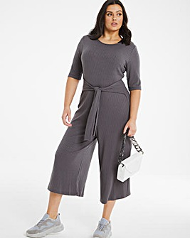Charcoal Ribbed Jumpsuit