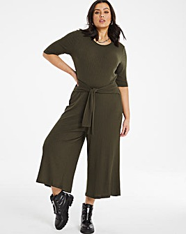 Khaki Ribbed Jumpsuit