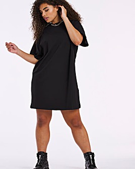 Black Relaxed T-Shirt Dress