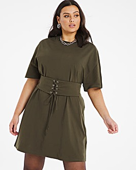 Khaki Corset T-Shirt Dress