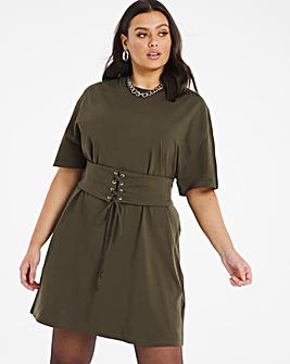 Khaki Corset T-Shirt Dress