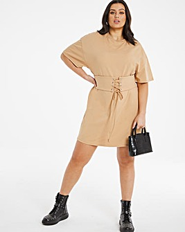 Camel Corset T-Shirt Dress