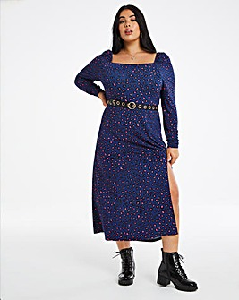 Animal Print Square Neck Jersey Midi Dress