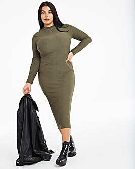 Khaki Textured Bodycon Dress