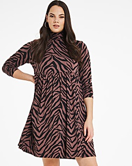 Supersoft Zebra Print Long Sleeve Smock Dress