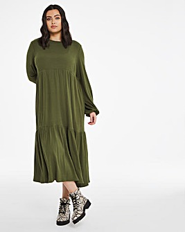 Khaki Supersoft Ribbed Tiered Maxi Dress