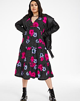 Batwing Sleeve Tiered Midi Dress