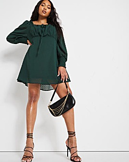 Emerald Green Dobby Spot Milkmaid Dress