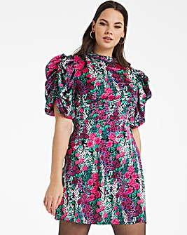 Floral Print Satin Puff Sleeve Dress