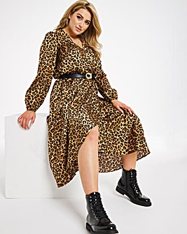 Leopard Print Satin Wrap Midi Dress