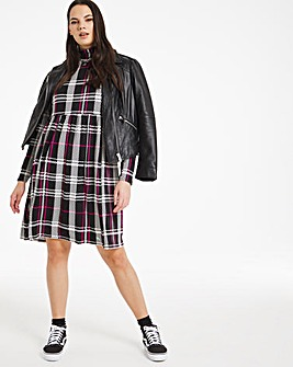 Supersoft Check Long Sleeve Smock Dress