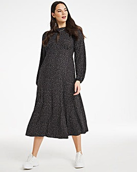 Heart Print Supersoft Jersey Midi Dress