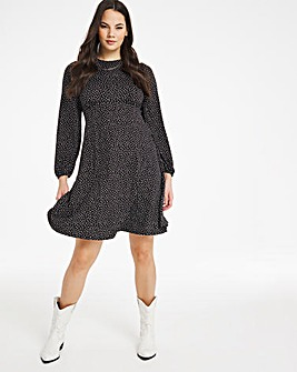 Heart Print Supersoft Jersey A-line Swing Tea Dress