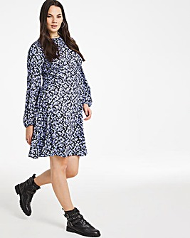 Floral Print Supersoft Jersey A-line Swing Tea Dress