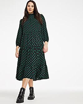 Cassidy Spot Print Tiered Midi Dress