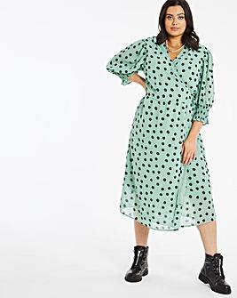 Green Spot Wrap Tie Midi Dress