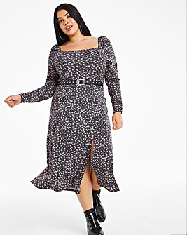 Ditsy Print Square Neck Jersey Midi Dress