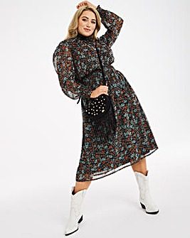 High Neck Shirred Waist Midi Dress
