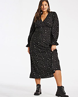 Star Print V Neck Midi Dress