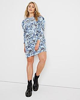Blue Floral Button Detail Skater Dress