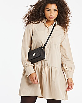 Beige Cotton Poplin Long Sleeve Shirt Dress