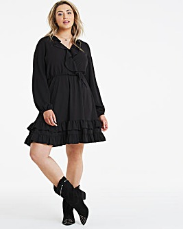 Black Ruffle Front Skater Dress