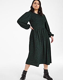 Green Leopard Long Sleeve Shirred Midi Dress