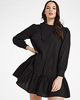 Shirred Detail Cotton Poplin Dress